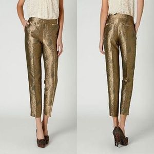 NWT Anthro Elevenses Gilded Jacquard Crop Pants